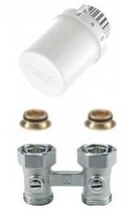 Głowica termostatyczna + Zawór podwójny PROSTY 3/4  Honeywell - Zestaw